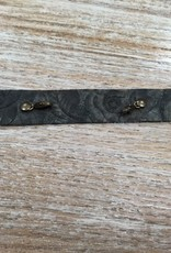 Jewelry Vintage Floral Blk Thin Leather Cuff