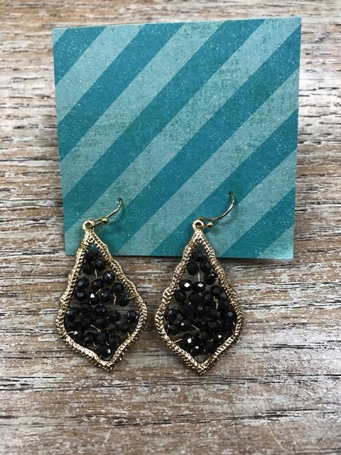 Jewelry Black Beaded Earrings