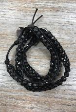 Jewelry Black Beaded Wrap Bracelet