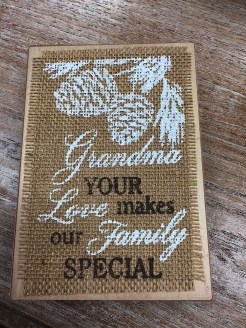 Decor Christmas Burlap Block