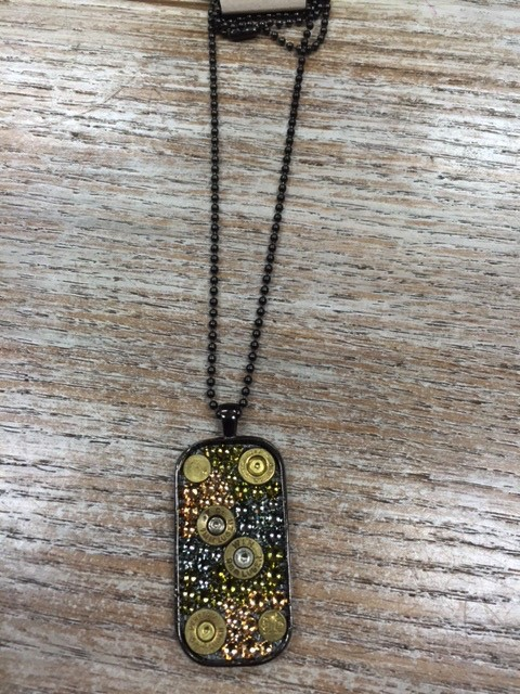 Jewelry Bullets Camo Dog Tag Necklace