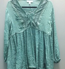 Tunic Green LS Tunic w/ Lace Up Detail