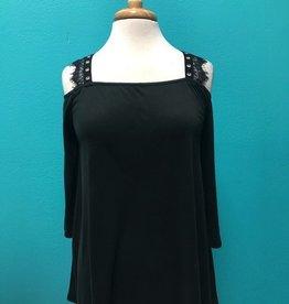 Blouse Black Cold Shoulder Top w/ Lace Up Back