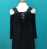 Blouse Black Cold Shoulder Top w/ Lace Up Back