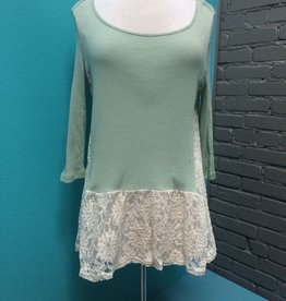 Top Mint Top with Lace Trim