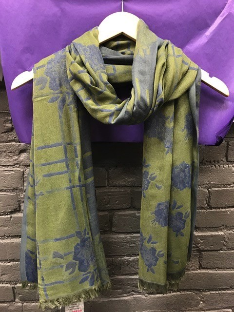 Scarf Green/Blue Floral Print Woven Scarf