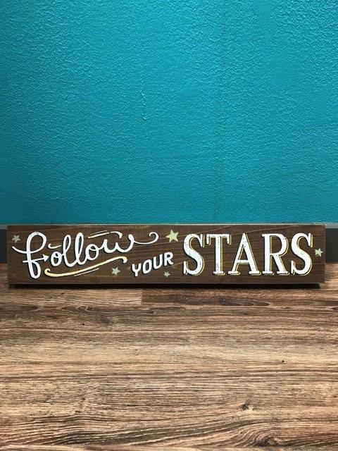 "Decor Follow Your Stars Wall Art 4.5x24"""