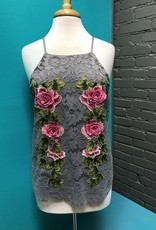 Tank Gray Floral Embroid Lace Tank