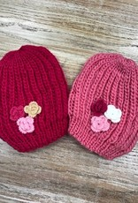 Kid's Kids Knit Beanies w/ Flowers