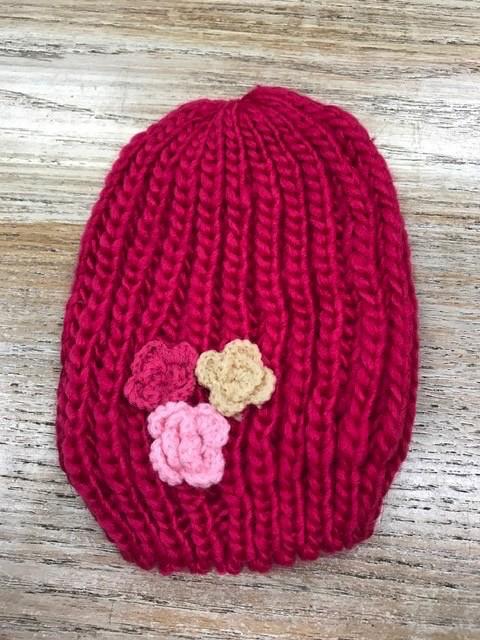 Kid's Kids Knit Beanies w/ Flowers