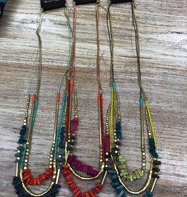 Jewelry Long Necklace w/ Colorful Beads