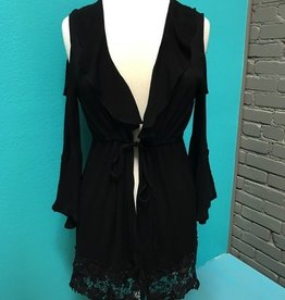 Cardigan Blk Cold Shoulder Tie Cardi