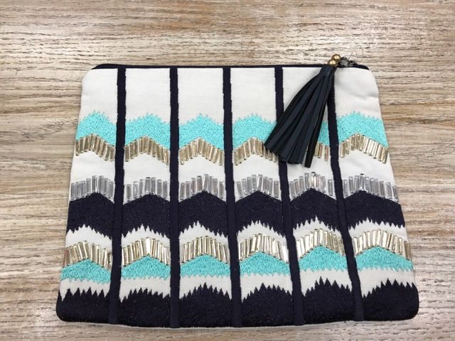 Purse Embroidered Zip Clutch
