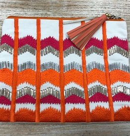 Purse Embroidered Zip Clutch