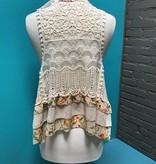 Vest Floral Print Vest w/ Lace