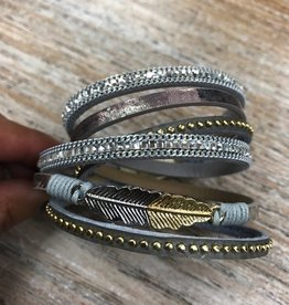 Jewelry Gray Mixed Material Wrap Bracelet