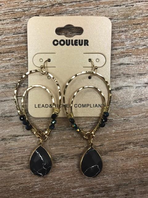 Jewelry Gold Earrings w/ Black Beads