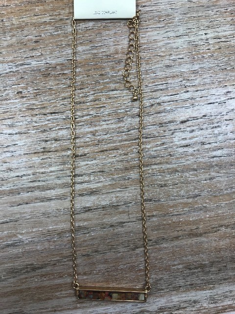 Jewelry Brown Beads Bar Necklace