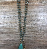 Jewelry Long Turq Stone Pendent Necklace