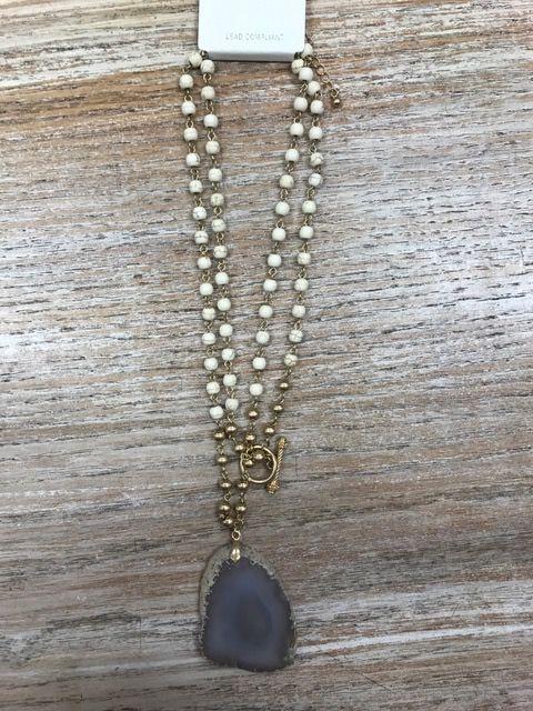 Jewelry Long White Beaded Necklace w/ Rock