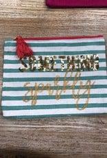 Bag Sparkly Teal Stripe Jute Bag
