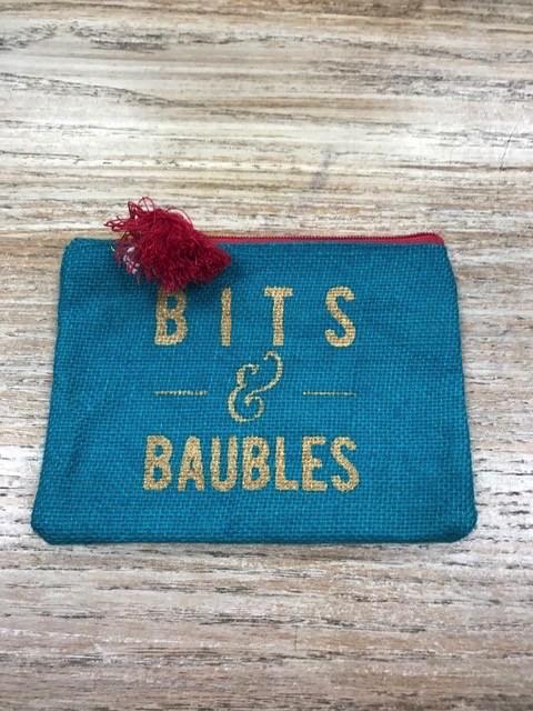 Bag Baubles Turq Jute Bag