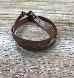 Jewelry Blush Studded Leather Wrap