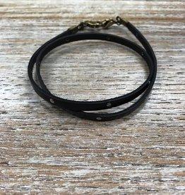 Jewelry Black Leather Studded Wrap