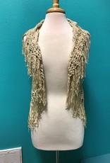 Vest Knit Beige Vest w/ Fringe