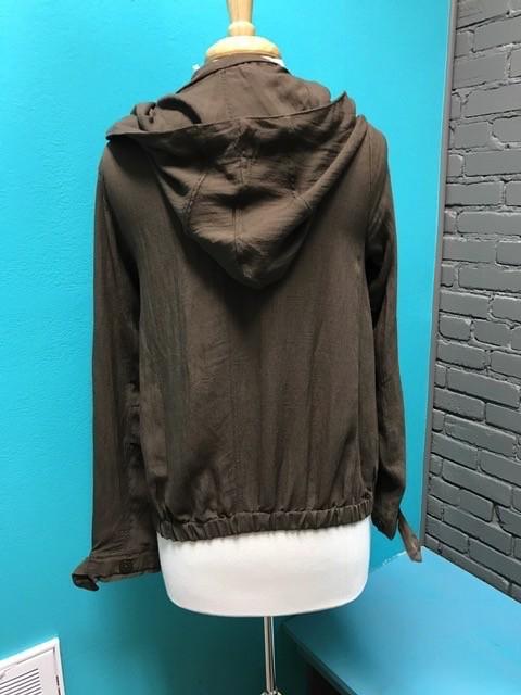Zip Up Olive Linen Zip Up w/ Hood