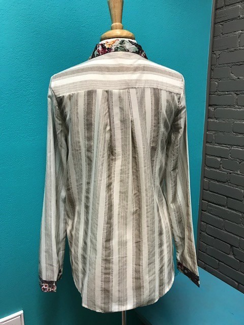 ButtonDown Taupe Stripe Button Down