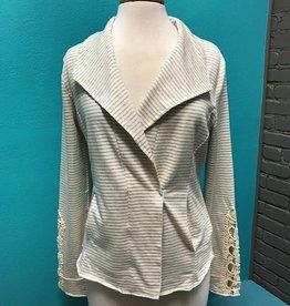 Jacket Stripe Terry Jacket w/ Lace
