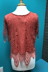 Top Coral Half Sleeve Lace Top