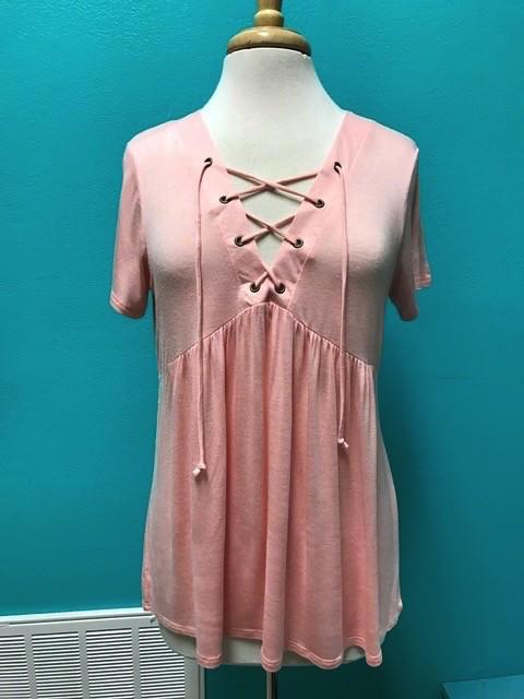 Shirt Pink Baby Doll Lace Up Shirt