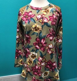 Long Sleeve Floral Print LS w/ Elbow Patch