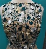 Dress Taupe/Green Embroid A-Line Dress