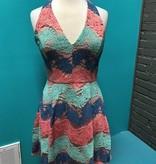 Dress Coral/Mint Lace Halter Dress