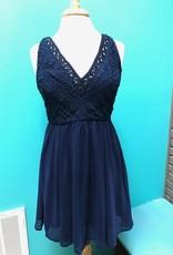 Dress Navy Beaded Lace V-Neck Dress