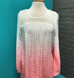 Long Sleeve Pink Dip Dye LS Lace Back