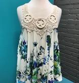 Tank Floral Print Crochet Detail Tank