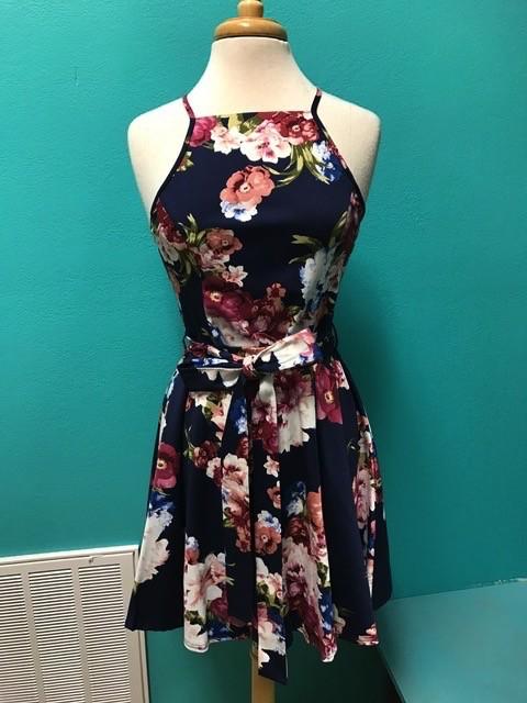 Dress Navy Floral w/ Tie Flare Dress