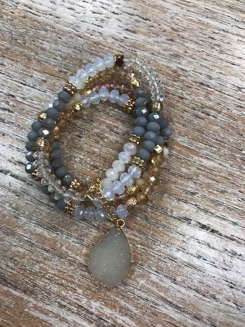 Jewelry Gray Bead Druzy Stone Bracelet