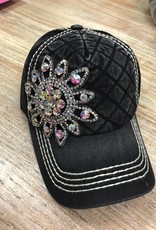 Hat Stone Flower w/ Quilted Front Cap