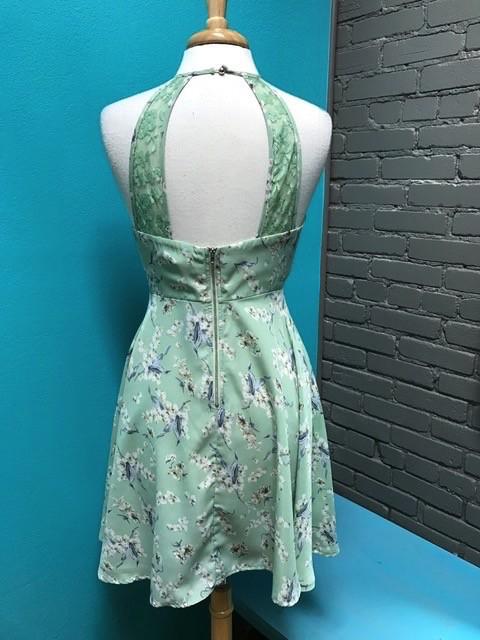 Dress Mint Floral Halter Dress w/ Lace