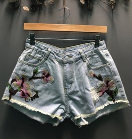 Shorts Denim Embroid High Waist Shorts