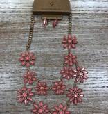 Jewelry Gold/Rose Flower Necklace w/ Earrings