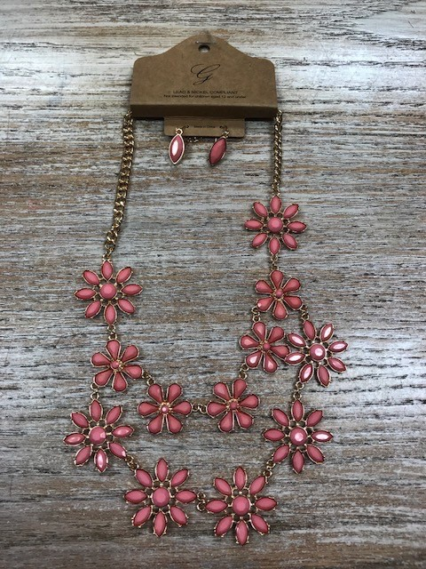 Jewelry Gold/Rose Flower Necklace w/ Earrings
