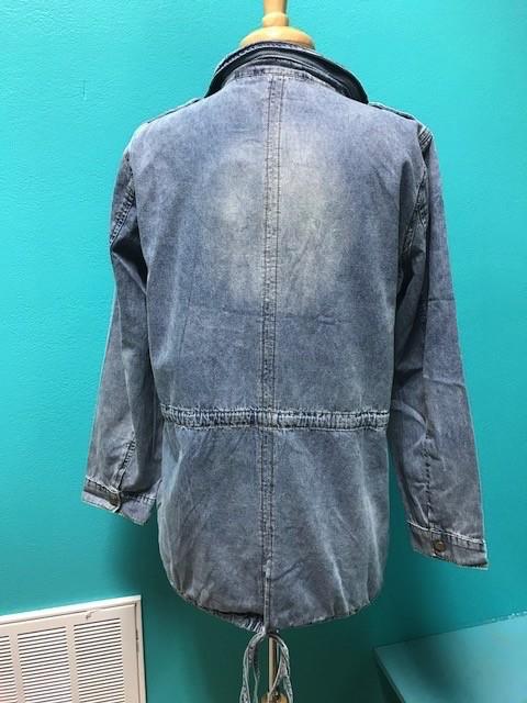 Jacket Denim Zip/Button Utliity Jacket
