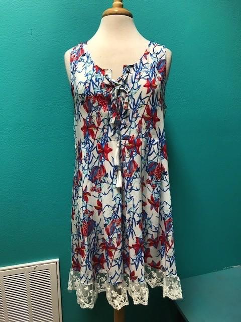 Dress Cream Floral Lace Hem Dress