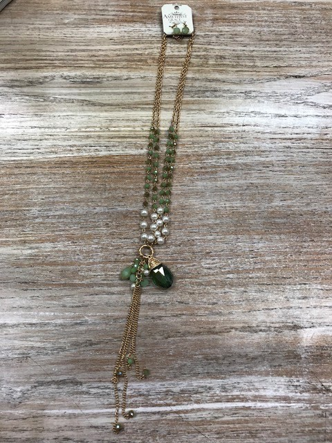 Jewelry Long Gold Green Pearl Necklace w/ Earrings